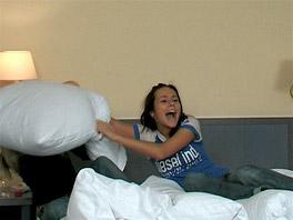Natascha and Josje having fun on the bed