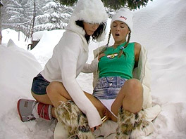 Two lesbian teens in the snow