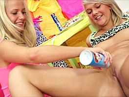 Caroline and Bella playing with cream
