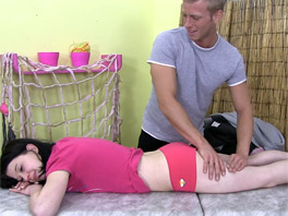 Young Linda gets a free massage