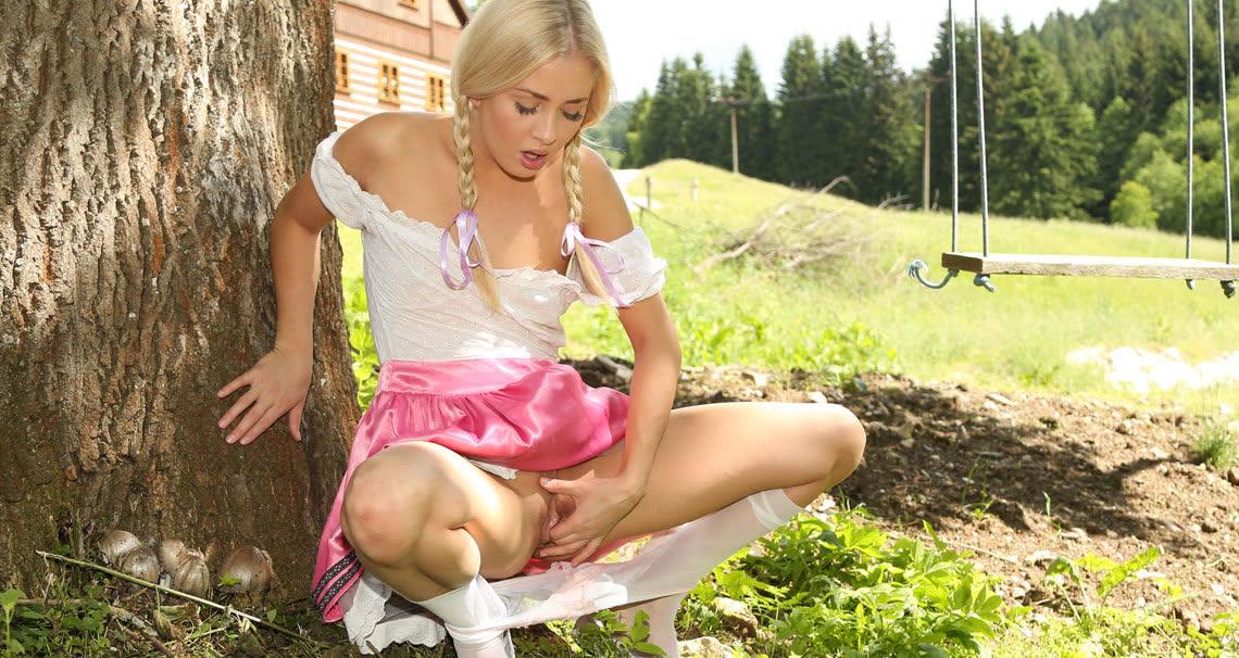Tirol teen showing her wet pussy upskirt