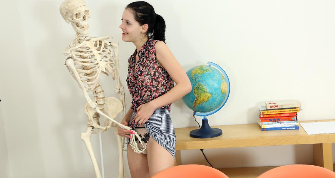 Horny student masturbating in classroom